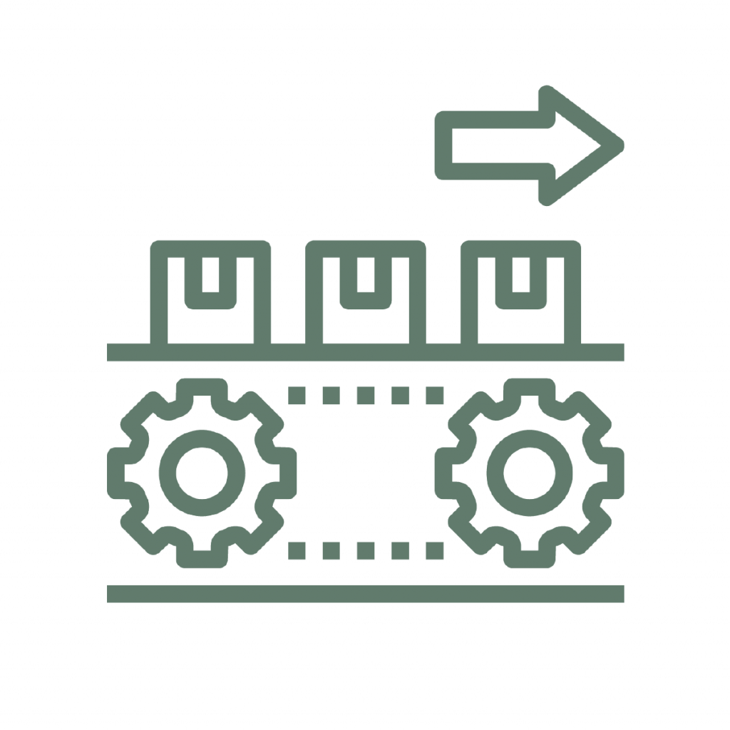 illustration representing responsible consumption and production showing boxes on a conveyer belt with a set of 2 gears indicating is going forward with an arrow pointing to the right side